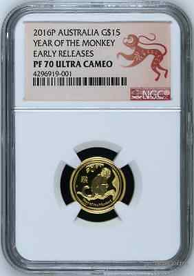 2016 P Australia PROOF GOLD $15 Lunar Year of the Monkey NGC PF70 1/10oz Coin ER