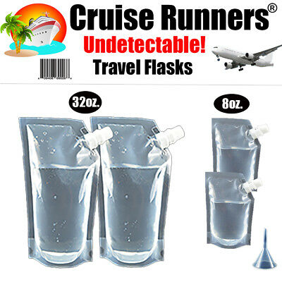 Cruise Flask Kit (4) Runners Rum Sneak Smuggle Hide Liquor Alcohol Booze Plastic