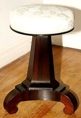 c1830 Classical Empire music or piano stool, dressing table stool, rosewood,