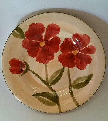 "Tabletops Gallery FELICITY Red Floral 8 5/8"" Salad Plate (s) Hand Painted"