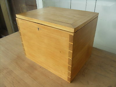 Small Antique Hardwood  Box / Chest / Trunk With Baize Interior