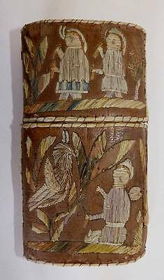 Huron 19Th Cent. Quill-Work Birch Bark Cheroot Case With Figures - Very Rare!