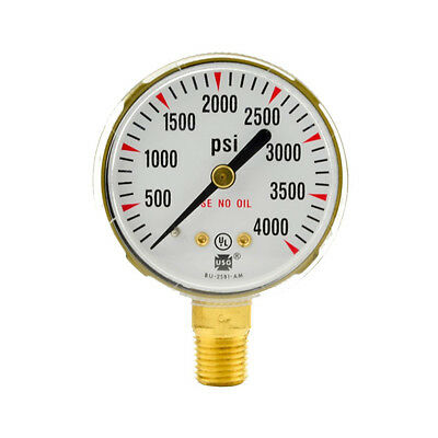 "2"" x 4000 PSI Welding Regulator Repair Replacement Gauge For Oxygen"