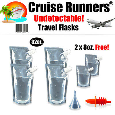 Cruise Ship Travel Flask 7 Pc Rum Runner Alcohol Liquor Smuggle Sneak Booze Wine