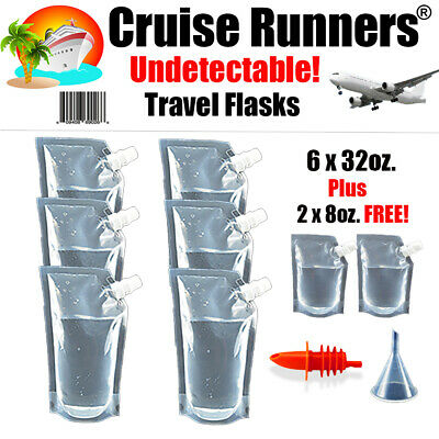 Cruise Ship Kit Flask 9 Pcs - 32oz Runners Rum Alcohol Liquor Smuggle Booze Wine