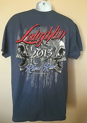 Laughlin River Run T Shirt 2013 Rally Skull Motorcycle Blue L Large Dalcon New