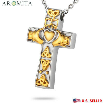 Gold Irish Claddagh Cross Cremation Jewelry Keepsake Memorial Urn Necklace