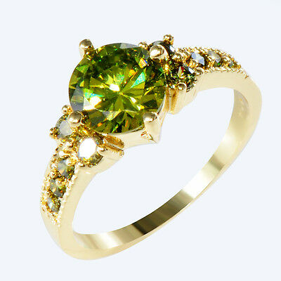 Wedding Rings Olive Green Crystal Women's 14KT Yellow Gold Filled Anniversary CZ