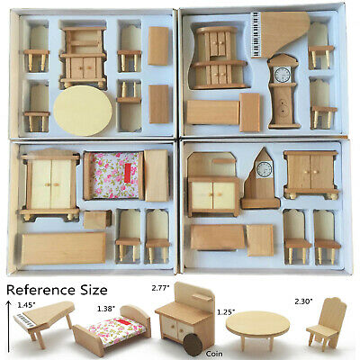 29Pcs Set Dollhouse Miniature Unpainted Wooden Furniture Suite 1/24 Scale Model
