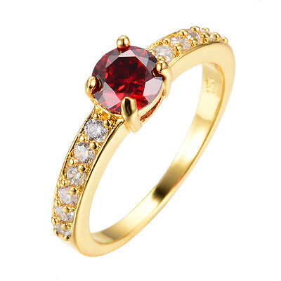Wedding Ruby Rings Red CZ Garnet Women's 14KT Yellow Gold Filled Engagement Gift