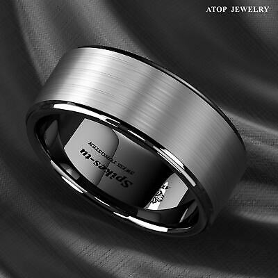 8/6mm Black Brushed Titanium Color Tungsten ring Wedding Band ATOP Men's Jewelry