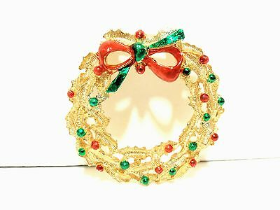Vintage CHRISTMAS GOLD WREATH Red BOW Green Enamel BROOCH PIN Signed GERRY'S WOW