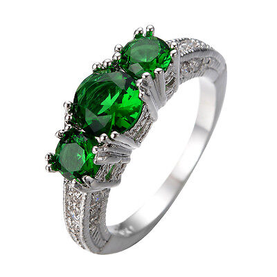 Engagement Rings Emerald Green Crystal Women's 14KT White Gold Filled Sz J 1/2-Y