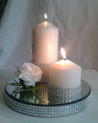 """ROUND DIAMANTE MIRROR CANDLE PLATE  WEDDING TABLE SILVER  GOLD  8"""" 20cm"""
