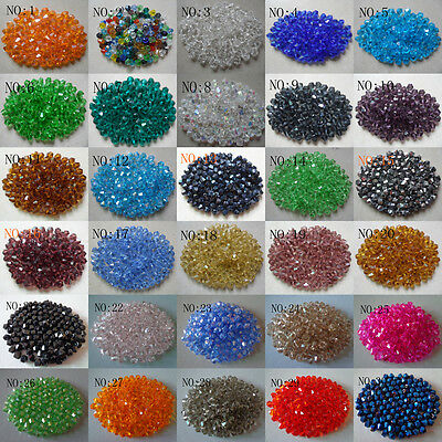 Wholesale!100-1000pcs 4-6mm crystal 5301# Bicone Beads, U Pick color