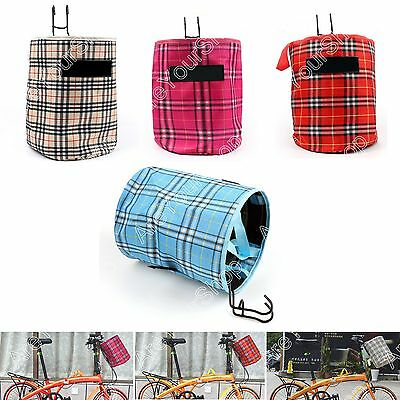 Bike Bicycle Front Folded Handlebar Canvas Storage Basket Carrier Tote Bag