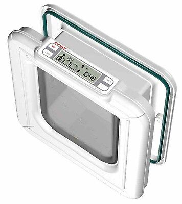 Cat Mate Elite I.D. Disc Cat Flap with Timer Control - White Brand New