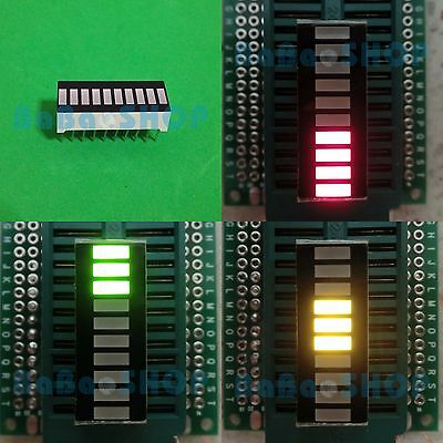 2pcs Tri-Color Fixed 10-Segments LED Bargraph GYR 3Green+3Yellow+4Red
