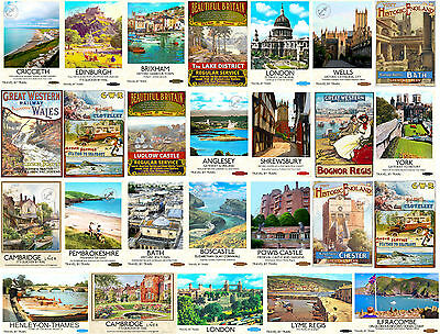 VINTAGE RETRO Style TRAVEL RAILWAY ADVERTISING POSTERS Seaside Train Art Print