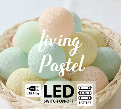 Led355 Battery/Usb Cotton Ball String Lights Baby Pastel Green Yellow Mint Peach