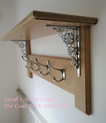 Vintage Style Solid Oak Coat Rack with Shelf – Ornate Chrome Collection