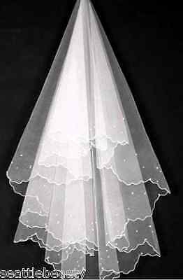 1T long bridal wedding veil pearl beaded white elbow length lace edge no comb