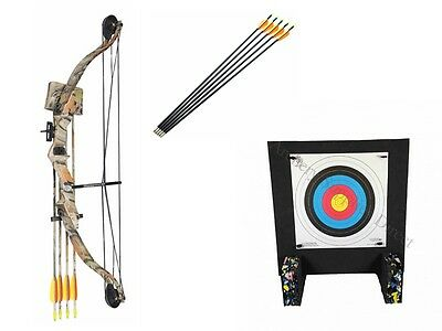 Typhoon Camo Archery Adult/Junior Compound Bow Starter Kit Package & Foam Target