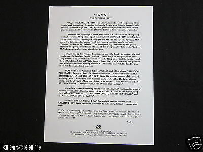 Inxs 'The Greatest Hits' 1994 Press Release