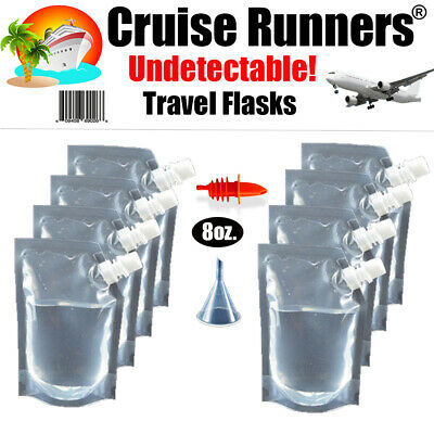 Cruise Flask Kit Rum Runners 8 oz For Cruise Alcohol Liquor Smuggle Booze Sneak