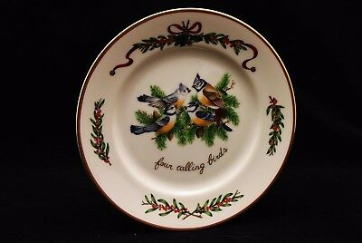 "All the Days of Christmas Holiday Dessert Plate 8/"" Gold Trim Four Calling Birds"