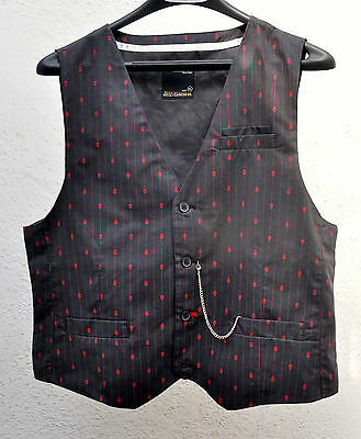 Boys Scull Dress Vest XL 18-20 Halloween Boys Division Drill Clothing Funky
