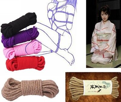 Soft Colorful 5m Cotton Bondage Ropes, Black Red Purple Pink ropes Nipple Cover