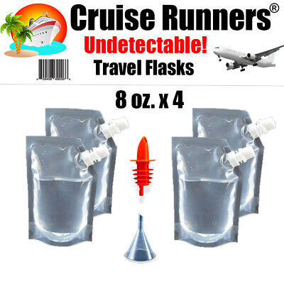 Cruise Travel Flask Kit (4)Runners Rum Alcohol Liquor Smuggle Booze Ship Plastic