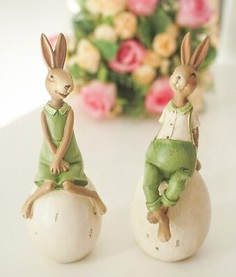 Styling Home Decoration/Resin Green Cute Rabbit/Rabbit sitting on an egg