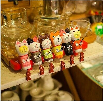 7 Pieces Colourful Little Cat Fishing / Hand Painted / Home Decoration/Gifts