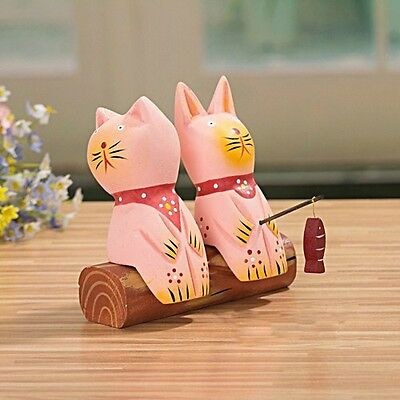 3 Pieces Cat Couple/Lover Fishing / Hand Painted / Home Decoration /Gifts