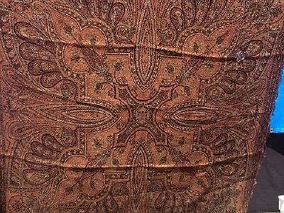 Kashmir Wool Dutch Antique Paisley Shawl OR Tablecloth INCH19th Centur Dutch