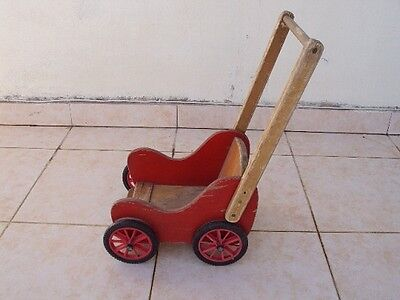 Vintage wood Wagon toy Doll  70s wooden Natural wood red color hand made
