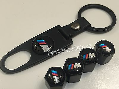 Bmw 4 x Black m Valve Dust Caps Covers with Key Ring (fits Bmw) Tyre chain air