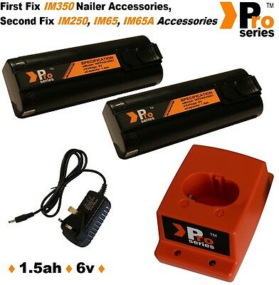 2 x ProSeries Batteries/Charger Set for Paslode IM350/IM65A/IM65/IM250/-0074-2