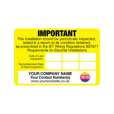 Personalised Electrical Safety Warning Labels PERIODIC TEST INSPECTION