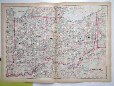 1874 ORIGINAL antique map Hand colored OHIO- INDIANA  Asher & Adams  double page