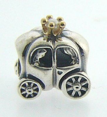 790598P Authentic Pandora Sterling Silver & 14 Karat Gold Royal Carriage Pearl