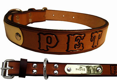 Western Leather Small Dog Collar Personalized Pet Name and Brass Plate Tag