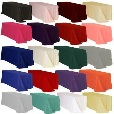 """10 packs Rectangle 90""""x132"""" inch Polyester Tablecloth 6ft Banquet Cover 18 COLOR"""