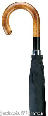 Harvy Maple Brown Wood Crook Handle Handcrafted Mens & Ladies Black Umbrella