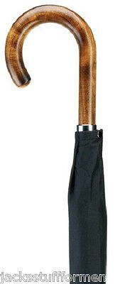 Harvy Maple Wood Brown Crook Handle Handcrafted Mens & Women Black Umbrella