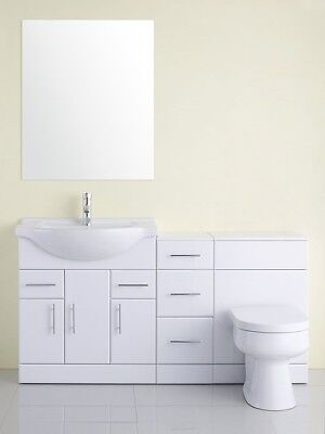 1600mm High Gloss White Vanity, BTW Toilet, Cupboard Bathroom Furniture Set