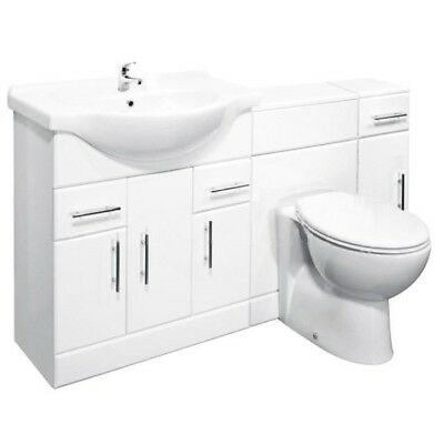 1500mm High Gloss White Bathroom Vanity Cabinet, BTW Furniture & Cupboard