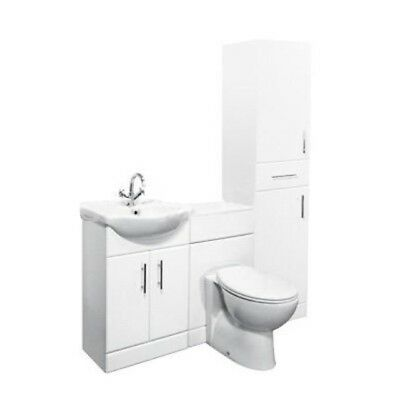 1500mm High Gloss White Bathroom Vanity, Tall Unit & Toilet Furniture